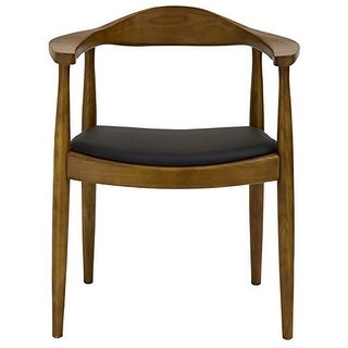 2xhome Modern Walnut Solid Real Oak Wood PU Leather Cushion Seat Kennedy Chair With Arm Armchair Dining Chair Hans Wegner Style