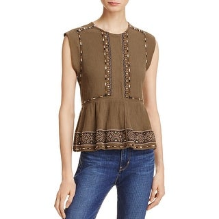 French Connection Womens Adanna Casual Top Crinkled Embroiderd