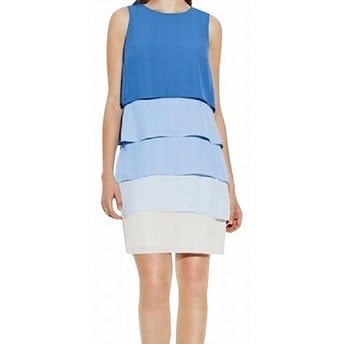 Vince Camuto NEW Blue Women's Size 14 Contrast Seamed Tiered Dress