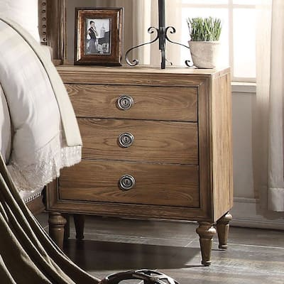 Inverness Wooden Nightstand with 3 Drawers&Tapered Leg - Reclaimed Oak