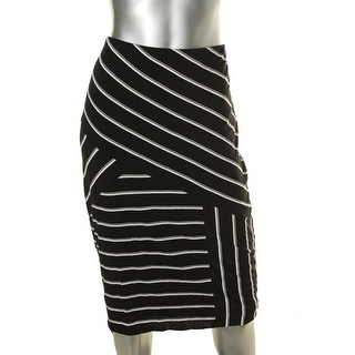 Vince Camuto Womens Below Knee Striped A-Line Skirt