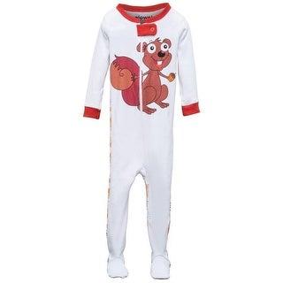 Elowel Baby Girls Brown Chipmunk Print Zipper Footed Pajama Sleeper