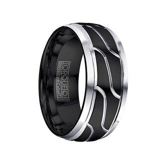MORTE Torque Black Cobalt Wedding Ring Polished Center Design Brushed Beveled Edges by Crown Ring - 9 mm