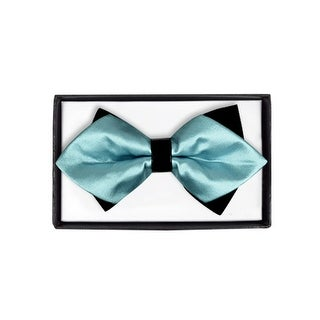 Men's Green Solid Diamond Tip Bow Tie - DBB3030-47 - regular