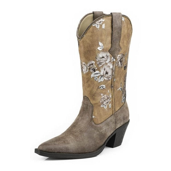 Roper Western Boots Womens Floral Snip Brown 09-021-1556-0840 BR