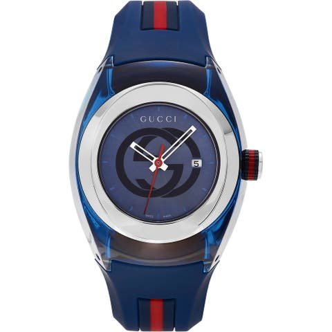 Gucci Unisex Sync Rubber Blue 46mm Watch YA137104 - one size fits all