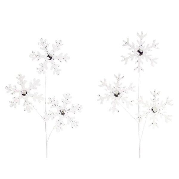 "Club Pack of 12 Cute Delicate Winter Time Gem Snowflake Sprays 30"""