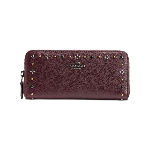 Coach Womens Clutch Wallet Leather Rivets - o/s
