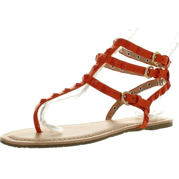 Wild Diva Womens Tanaya-219 T-Strap Spike Stud Ankle Strappy Cuff Flat Sandal