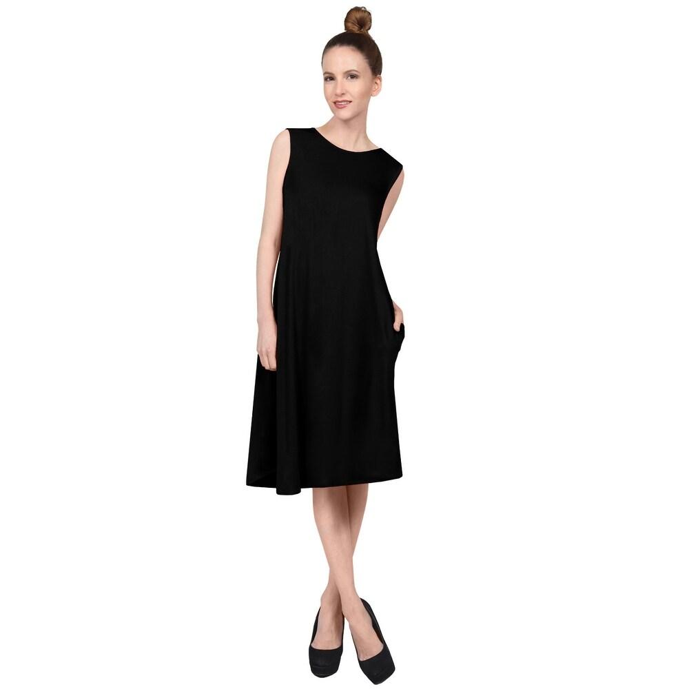 NE PEOPLE Womens Casual Sleeveless Round Neck Knee Length Dress by  New Design
