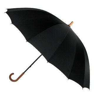 Leighton 60 Inch Wood Handle Doorman Umbrella - Black - One Size