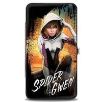 Marvel Universe Spider Gwen Crouching Pose Buildings Splatter Black White Hinge Wallet - One Size Fits most