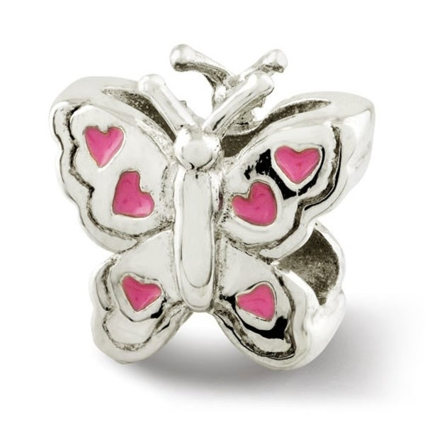 Sterling Silver Reflections Kids Enameled Butterfly Bead (4mm Diameter Hole)