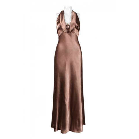 Adrianna Papell Cowl Halter Neck Dress, Rust Gold, 6