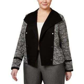 Calvin Klein Womens Plus Jacket Shawl Collar Colorblock