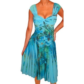 Funfash Plus Size Women Blue Floral Slimming A Line Dress Made in USA (4 options available)