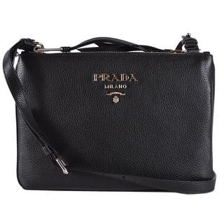 0bba97fc20ec Quick View. $1010.00. Prada 1BH046 Black Vitello Leather Bandoliera Double  Zip Crossbody Purse Bag