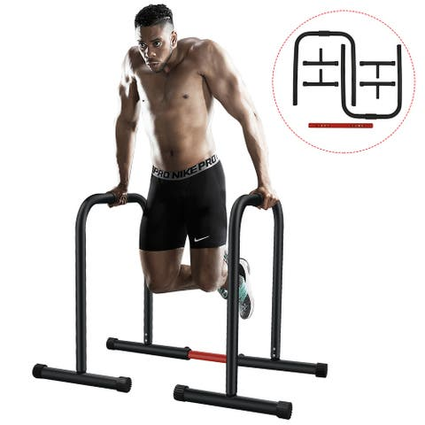 Dip Stand Station, Ultimate Heavy Duty Body Bar Press with Safety Connector for Dips, Pull-Ups, Push-Ups