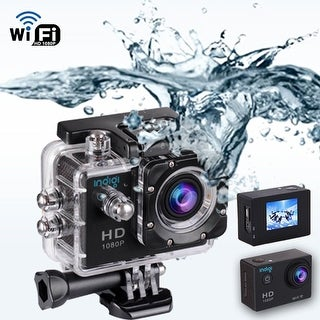 Indigi NEW Extreme Sports Action Camera DV 4K Waterproof - WiFi Remote Control on iPhone & Android Phone - Built-In LCD Screen