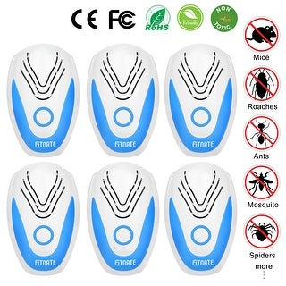 NEW 6pcs Fitnate Ultrasonic Plug In Pest Repeller Electronic Spider Repellent for Insect Bug Mosquito Mouse Bedbug Roach - White