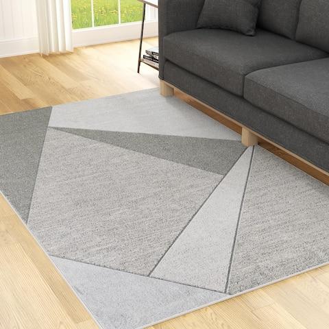 Brookside Geometric Gray Abstract Triangle Rug