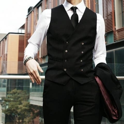 Men's Fashion Double Breasted Vest Fashion All-Match Black and Grey