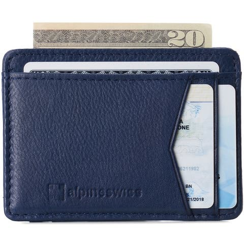 Alpine Swiss RFID Minimalist Oliver Front Pocket Wallet For Men Leather Comes in a Gift Box - One Size