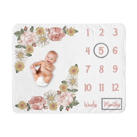 Vintage Floral Boho Collection Girl Baby Monthly Milestone Blanket - Blush Pink Yellow Green Shabby Chic Rose Flower Farmhouse