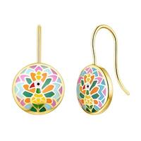 Madhubani Art Peacock Multi Color Enamel Earring By Vedantti