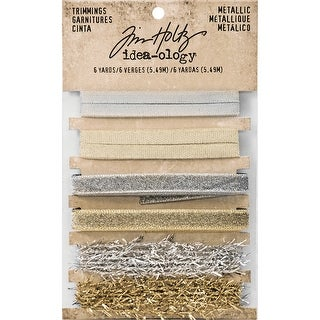 """Gold & Silver .25"""" To .375""""-Idea-Ology Metallic Trimmings 1Yd 6/Pkg"""