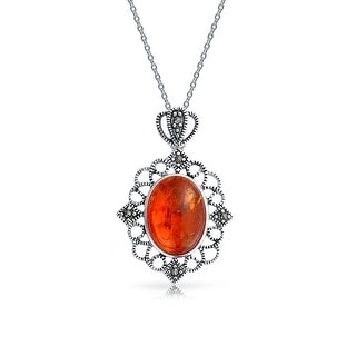 Vintage Style Filigree Marcasite Bezel Set Oval Honey Amber Pendant Necklace 925 Sterling Silver