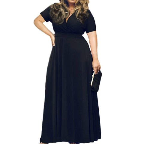 HWOKEFEIYU Women Short Sleeve Loose Plain Casual Plus, 12 Black, Size X-Large