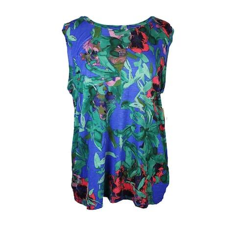 Rachel Rachel Roy Plus Size Blue Floral Tank- Top 0X