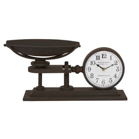 "Black Metal Scale Table Clock With Plate 18.5"" X 8.75"" - 18 x 8 x 9"