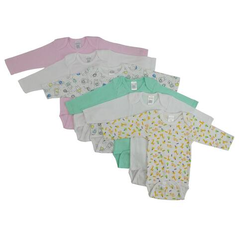 """Pack of 6 Pink, Aqua Green and White Newborn Long Sleeve Printed Onesies for 0 to 6 Months, 8"""""""