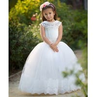 8b5423c788ada Little Girls White Satin Collar Tulle Beaded Sash Leyton Flower Girl Dress  - 6