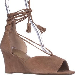 Adrienne Vittadini Marcey Wedge Sandals, Almond