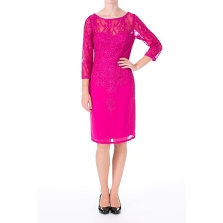 Sue Wong Womens Lace 3/4 Sleeves Cocktail Dress - 2