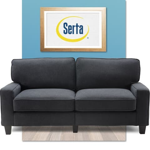 "Serta Palisades Upholstered 73"" Sofas for Living Room Modern Design Couch, Straight Arms, Soft Upholstery, Tool-Free Assembly"