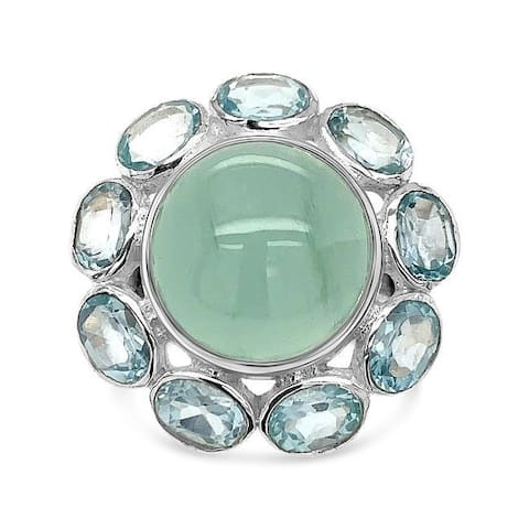 925 Sterling Silver 7 1/2 Carat Aquamarine Flower Ring for Women (Size : 5)
