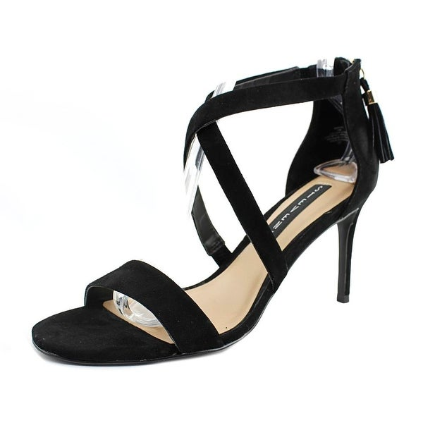Steven Steve Madden Nahlah Women Open Toe Suede Black Sandals