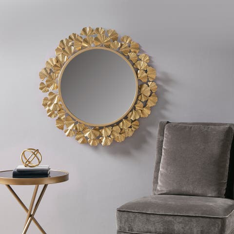 Martha Stewart Eden Gold Foil Ginkgo Mirror