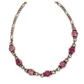 Copper Faceted Light & Dark Pink Crystal 15.5in w/ext Necklace - 15in
