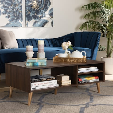 Landen Mid-Century Walnut Brown and Gold Finished Wood Coffee Table