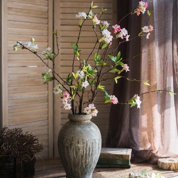 "RusticReach Artificial Flower Peach Blossom Stem 37"" Tall"