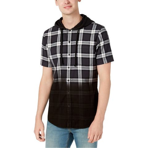 American Rag Mens Plaid Ombre Button Up Shirt