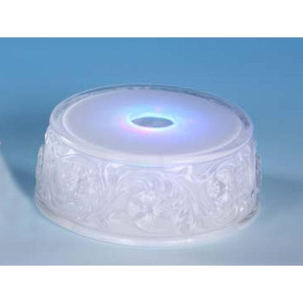 "Pack of 9 Icy Crystal Illuminated Small Round Base for Use Under Figurines 1.5"" - CLEAR"