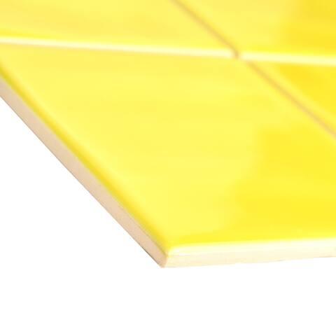 "SomerTile Twist Square Yellow Lemon 11.75"" x 11.75"" Ceramic Mosaic"