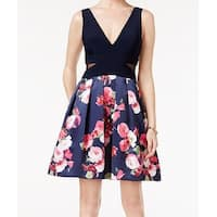 Xscape Blue Women's Size 8 Floral Print Fit Flare A-Line Dress