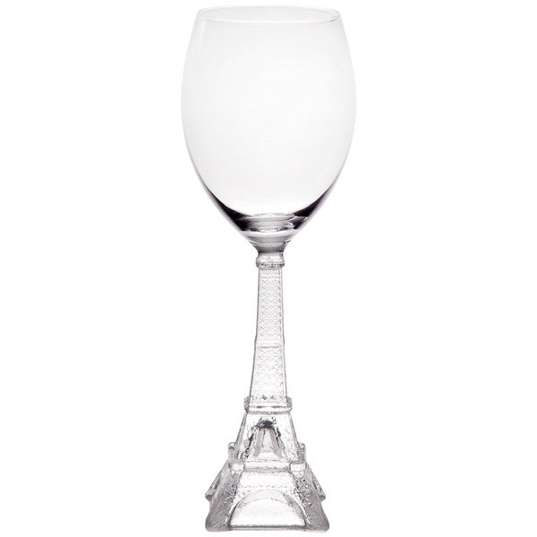 "Vintage Eiffel Tower Stem White Wine Glass - 10-Ounce - 9.5"" High"